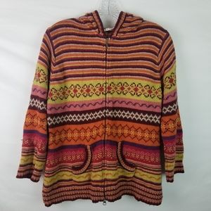 🌻cAbi knitted fair isle sweater zip up 129 lg
